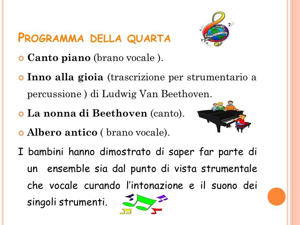 P ROGRAMMA DELLA QUARTA Canto piano (brano vocale ). Inno alla gioia (trascrizione per strumentario a percussione ) di Ludwig Van Beethoven. La nonna