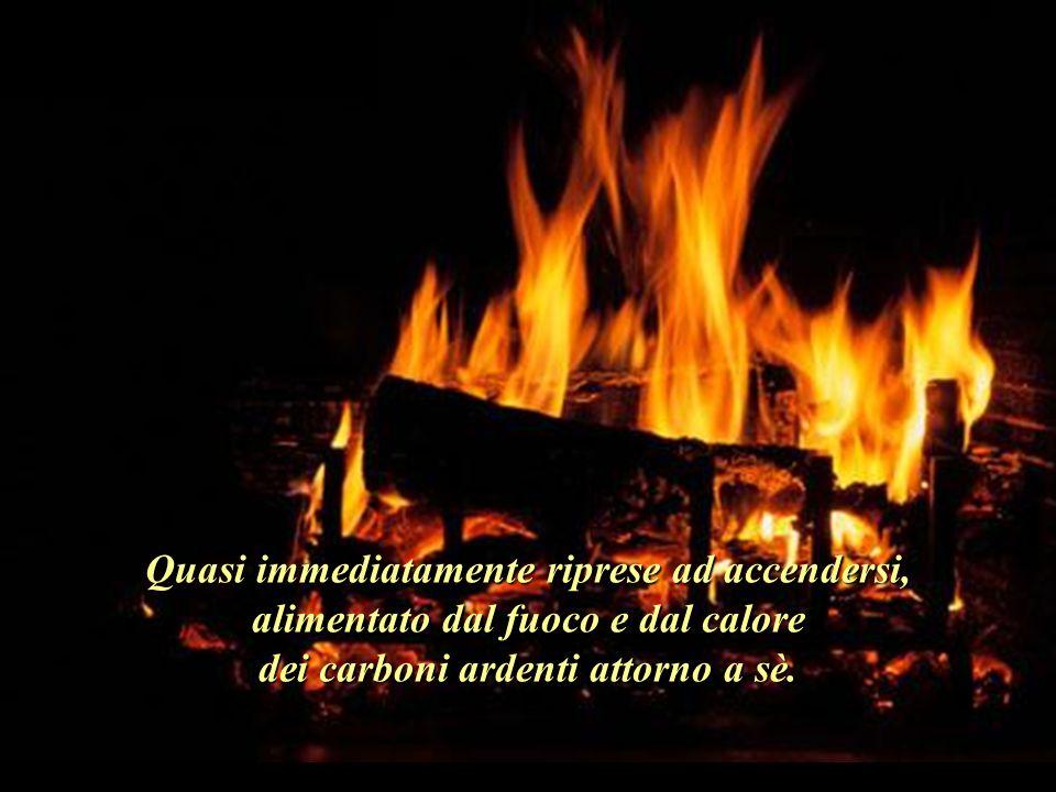 Quasi immediatamente riprese ad accendersi, alimentato dal fuoco e dal calore dei carboni ardenti attorno a sè..