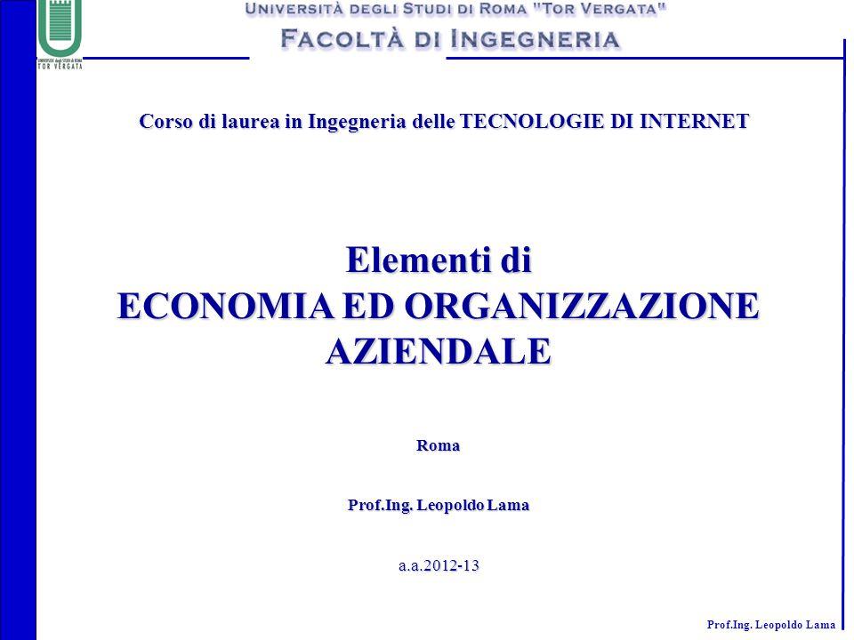 Prof.Ing. Leopoldo Lama Corso di laurea in Ingegneria delle TECNOLOGIE DI INTERNET Corso di laurea in Ingegneria delle TECNOLOGIE DI INTERNET Elementi