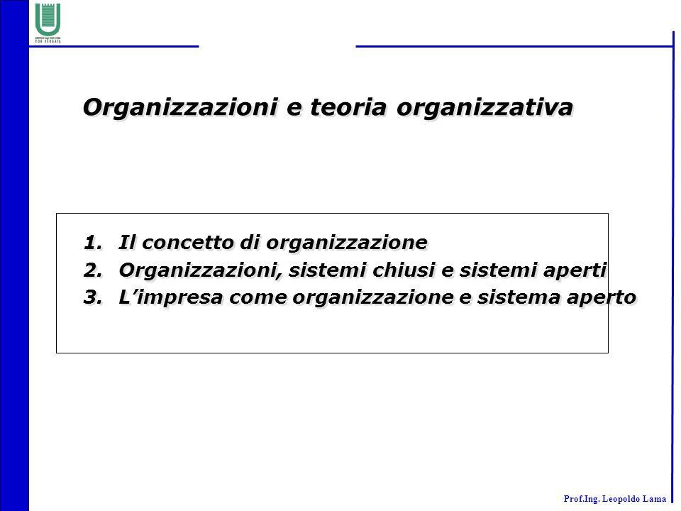 Prof.Ing. Leopoldo Lama Organizzazioni e teoria organizzativa 1.Il concetto di organizzazione 2.Organizzazioni, sistemi chiusi e sistemi aperti 3.L'im