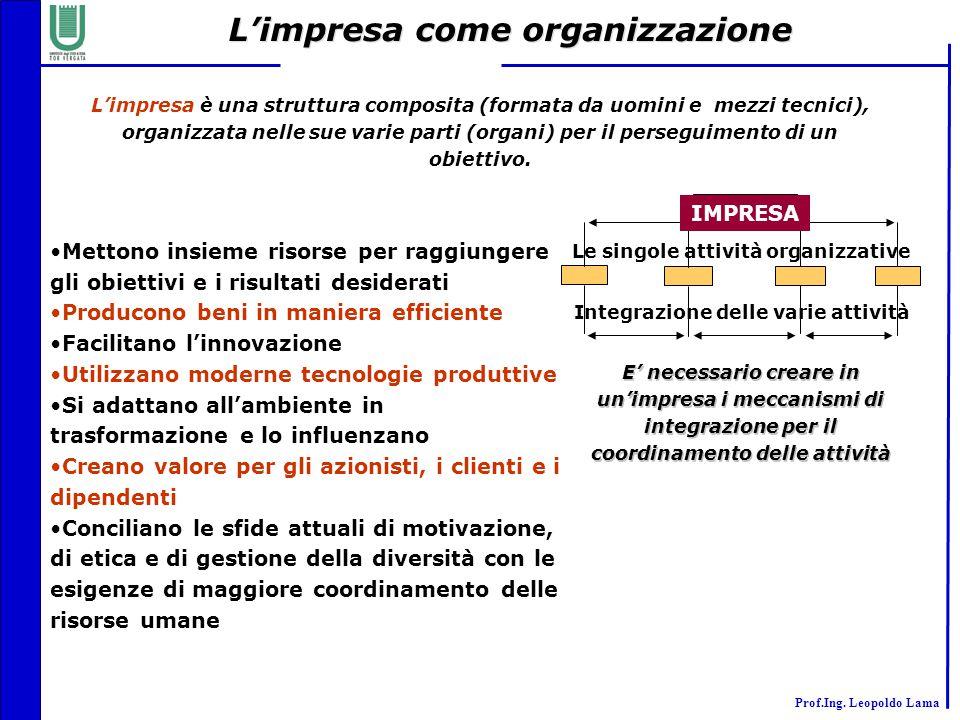Prof.Ing. Leopoldo Lama L'impresa come organizzazione L'impresa è una struttura composita (formata da uomini e mezzi tecnici), organizzata nelle sue v