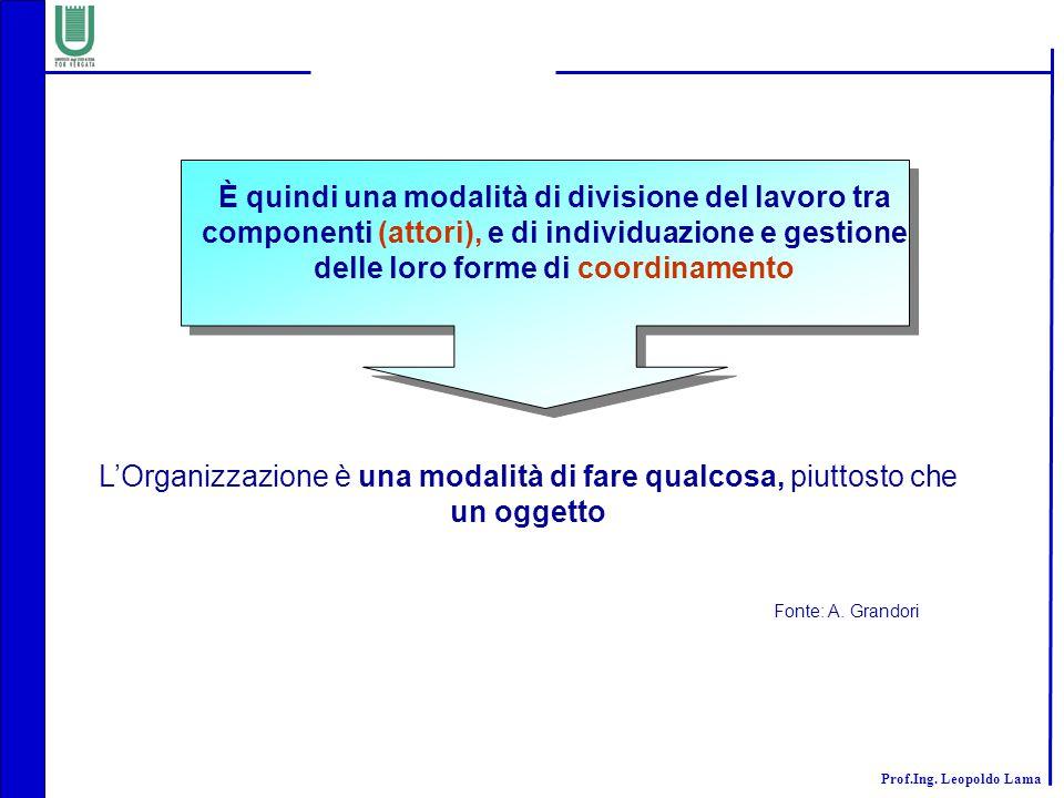 Prof.Ing. Leopoldo Lama L'Organizzazione è una modalità di fare qualcosa, piuttosto che un oggetto È quindi una modalità di divisione del lavoro tra c