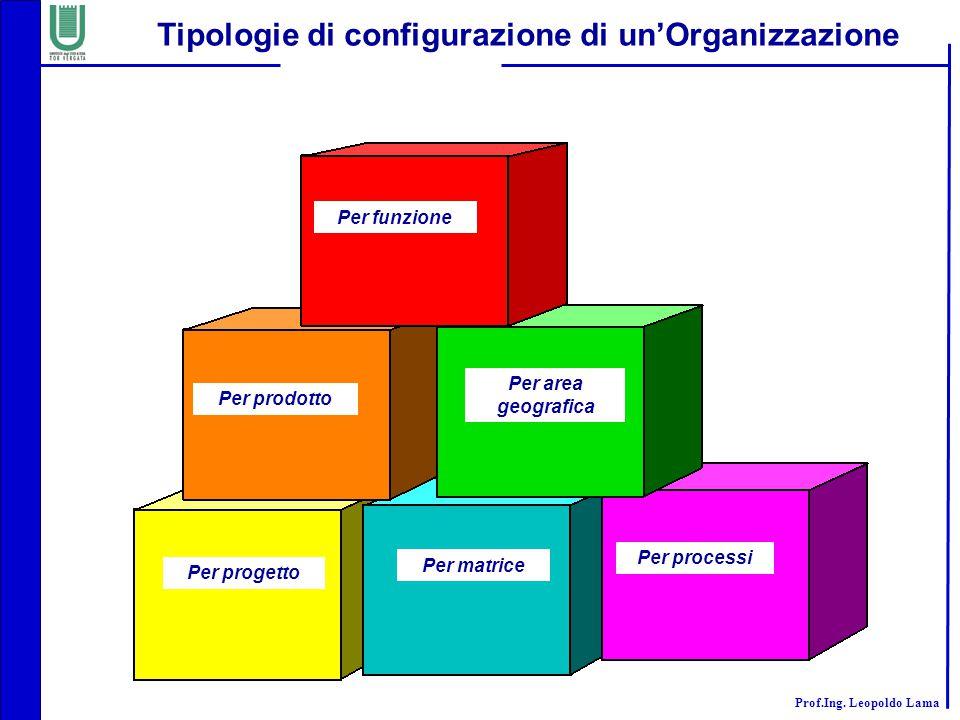 Prof.Ing. Leopoldo Lama Tipologie di configurazione di un'Organizzazione Per funzione Per prodotto Per area geografica Per progetto Per matrice Per pr