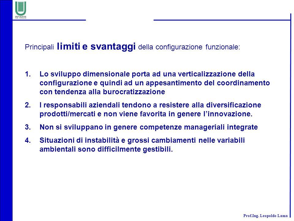 Prof.Ing. Leopoldo Lama Principali limiti e svantaggi della configurazione funzionale: 1.Lo sviluppo dimensionale porta ad una verticalizzazione della