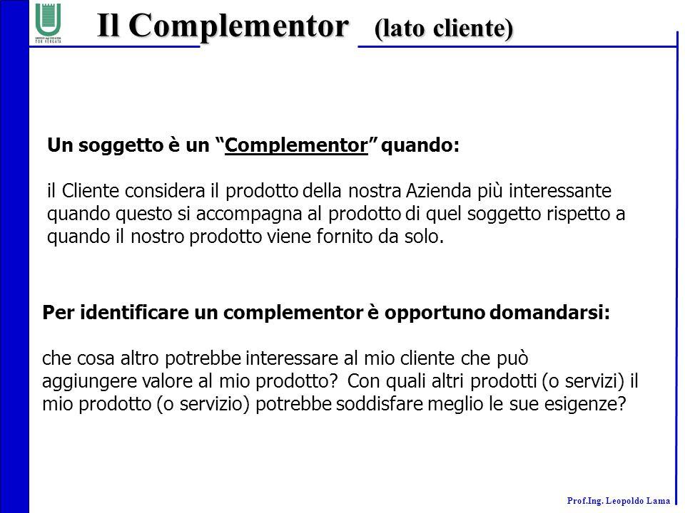 """Prof.Ing. Leopoldo Lama Il Complementor (lato cliente) Un soggetto è un """"Complementor"""" quando: il Cliente considera il prodotto della nostra Azienda p"""