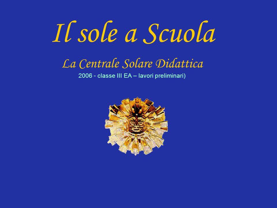 Il sole a Scuola La Centrale Solare Didattica 2006 - classe III EA – lavori preliminari)