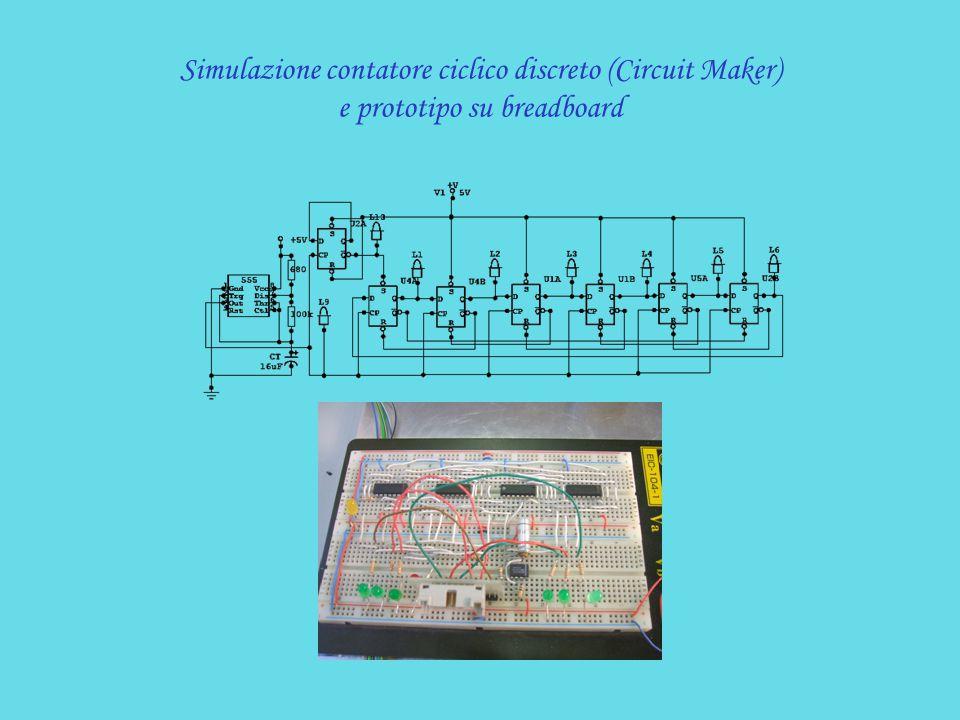 Simulazione contatore ciclico discreto (Circuit Maker) e prototipo su breadboard