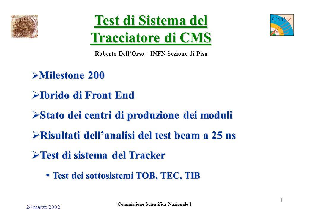 26 marzo 2002 Commissione Scientifica Nazionale 1 1 Test di Sistema del Tracciatore di CMS Roberto Dell'Orso - INFN Sezione di Pisa  Milestone 200  Ibrido di Front End  Stato dei centri di produzione dei moduli  Risultati dell'analisi del test beam a 25 ns  Test di sistema del Tracker Test dei sottosistemi TOB, TEC, TIB Test dei sottosistemi TOB, TEC, TIB