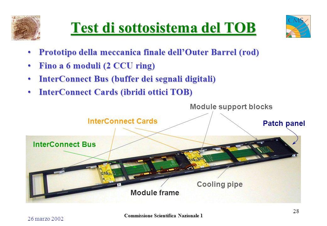 26 marzo 2002 Commissione Scientifica Nazionale 1 28 Test di sottosistema del TOB Prototipo della meccanica finale dell'Outer Barrel (rod)Prototipo della meccanica finale dell'Outer Barrel (rod) Fino a 6 moduli (2 CCU ring)Fino a 6 moduli (2 CCU ring) InterConnect Bus (buffer dei segnali digitali)InterConnect Bus (buffer dei segnali digitali) InterConnect Cards (ibridi ottici TOB)InterConnect Cards (ibridi ottici TOB) InterConnect Bus InterConnect Cards Module support blocks Module frame Cooling pipe Patch panel