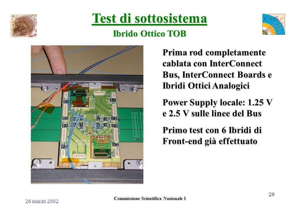 26 marzo 2002 Commissione Scientifica Nazionale 1 29 Test di sottosistema Ibrido Ottico TOB Prima rod completamente cablata con InterConnect Bus, InterConnect Boards e Ibridi Ottici Analogici Power Supply locale: 1.25 V e 2.5 V sulle linee del Bus Primo test con 6 Ibridi di Front-end già effettuato