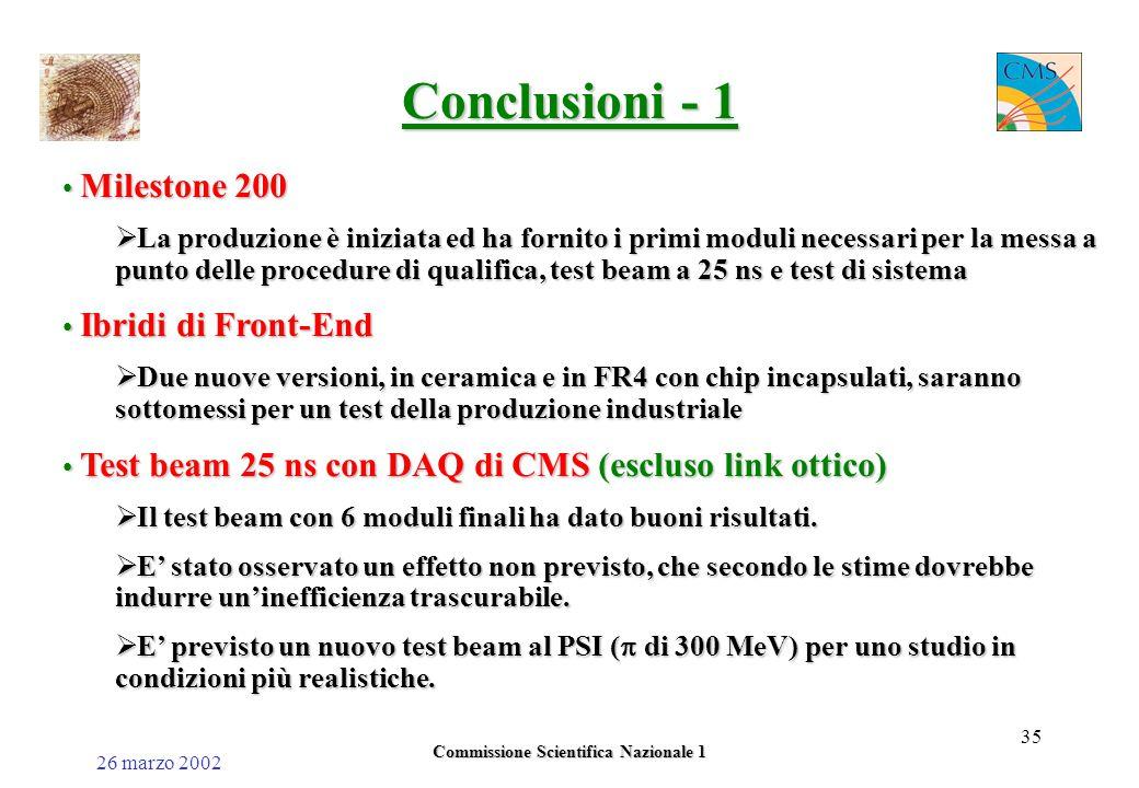 26 marzo 2002 Commissione Scientifica Nazionale 1 35 Conclusioni - 1 Milestone 200 Milestone 200  La produzione è iniziata ed ha fornito i primi moduli necessari per la messa a punto delle procedure di qualifica, test beam a 25 ns e test di sistema Ibridi di Front-End Ibridi di Front-End  Due nuove versioni, in ceramica e in FR4 con chip incapsulati, saranno sottomessi per un test della produzione industriale Test beam 25 ns con DAQ di CMS (escluso link ottico) Test beam 25 ns con DAQ di CMS (escluso link ottico)  Il test beam con 6 moduli finali ha dato buoni risultati.