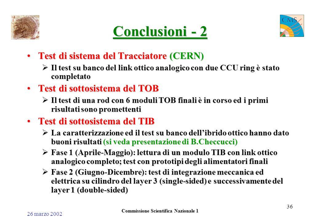 26 marzo 2002 Commissione Scientifica Nazionale 1 36 Conclusioni - 2 Test di sistema del Tracciatore (CERN)Test di sistema del Tracciatore (CERN)  Il test su banco del link ottico analogico con due CCU ring è stato completato Test di sottosistema del TOBTest di sottosistema del TOB  Il test di una rod con 6 moduli TOB finali è in corso ed i primi risultati sono promettenti Test di sottosistema del TIBTest di sottosistema del TIB  La caratterizzazione ed il test su banco dell'ibrido ottico hanno dato buoni risultati (si veda presentazione di B.Checcucci)  Fase 1 (Aprile-Maggio): lettura di un modulo TIB con link ottico analogico completo; test con prototipi degli alimentatori finali  Fase 2 (Giugno-Dicembre): test di integrazione meccanica ed elettrica su cilindro del layer 3 (single-sided) e successivamente del layer 1 (double-sided)