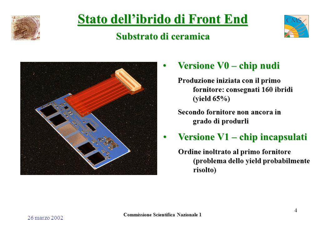 26 marzo 2002 Commissione Scientifica Nazionale 1 4 Stato dell'ibrido di Front End Substrato di ceramica Versione V0 – chip nudiVersione V0 – chip nudi Produzione iniziata con il primo fornitore: consegnati 160 ibridi (yield 65%) Secondo fornitore non ancora in grado di produrli Versione V1 – chip incapsulatiVersione V1 – chip incapsulati Ordine inoltrato al primo fornitore (problema dello yield probabilmente risolto)