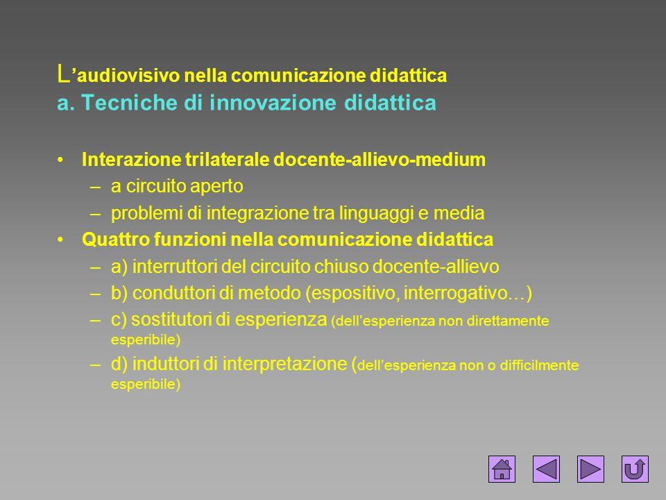 L 'audiovisivo nella comunicazione didattica a. Tecniche di innovazione didattica Interazione trilaterale docente-allievo-medium –a circuito aperto –p