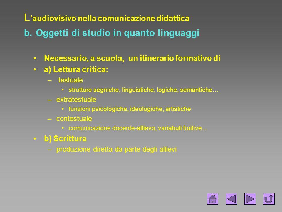 L 'audiovisivo nella comunicazione didattica b. Oggetti di studio in quanto linguaggi Necessario, a scuola, un itinerario formativo di a) Lettura crit
