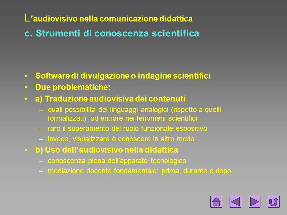 L 'audiovisivo nella comunicazione didattica c. Strumenti di conoscenza scientifica Software di divulgazione o indagine scientifici Due problematiche:
