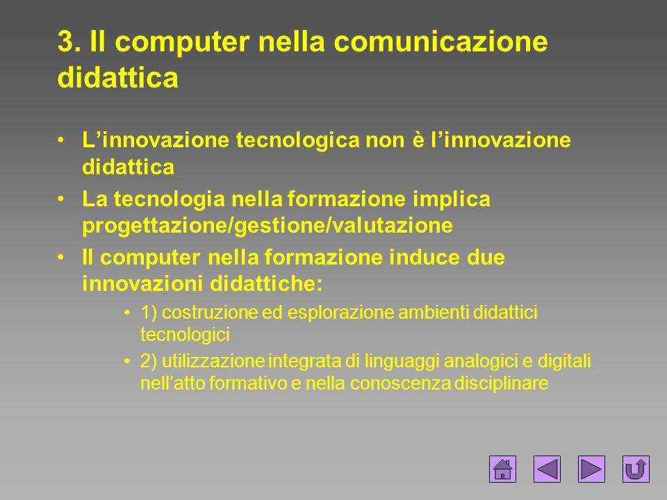 3. Il computer nella comunicazione didattica L'innovazione tecnologica non è l'innovazione didattica La tecnologia nella formazione implica progettazi