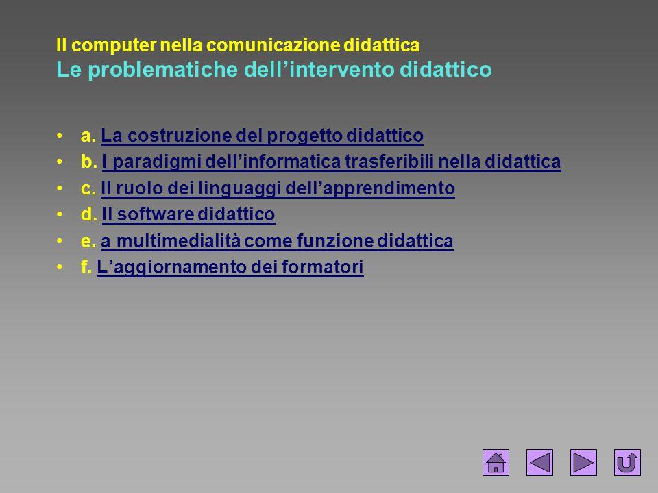 Il computer nella comunicazione didattica Le problematiche dell'intervento didattico a. La costruzione del progetto didatticoLa costruzione del proget