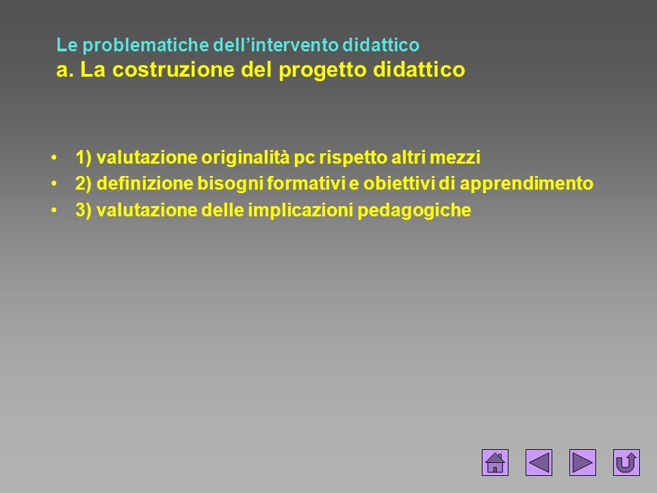 Le problematiche dell'intervento didattico a. La costruzione del progetto didattico 1) valutazione originalità pc rispetto altri mezzi 2) definizione