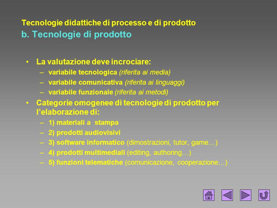 Tecnologie didattiche di processo e di prodotto b. Tecnologie di prodotto La valutazione deve incrociare: –variabile tecnologica (riferita ai media) –