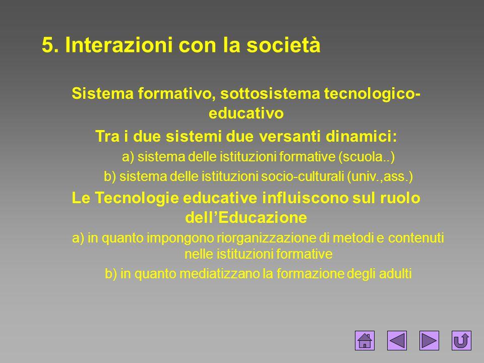 5. Interazioni con la società Sistema formativo, sottosistema tecnologico- educativo Tra i due sistemi due versanti dinamici: a) sistema delle istituz