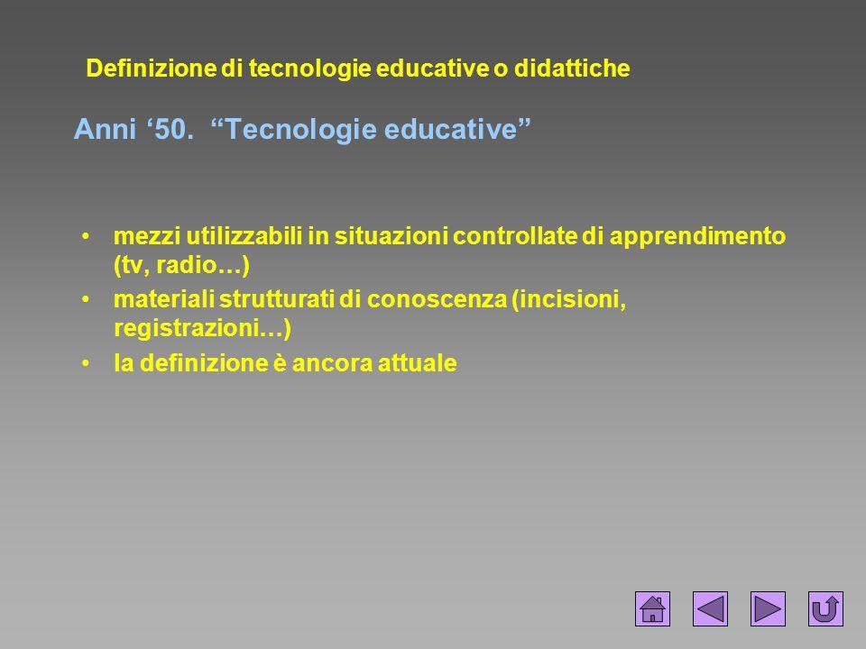 """Definizione di tecnologie educative o didattiche Anni '50. """"Tecnologie educative"""" mezzi utilizzabili in situazioni controllate di apprendimento (tv, r"""