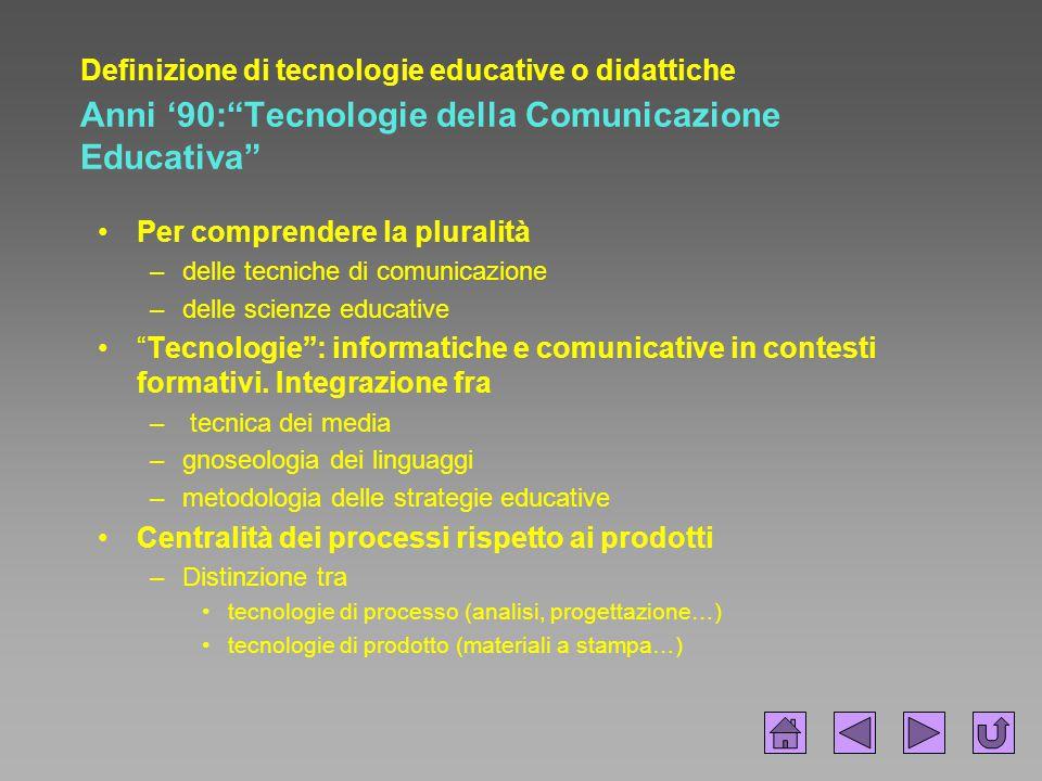 """Definizione di tecnologie educative o didattiche Anni '90:""""Tecnologie della Comunicazione Educativa"""" Per comprendere la pluralità –delle tecniche di c"""
