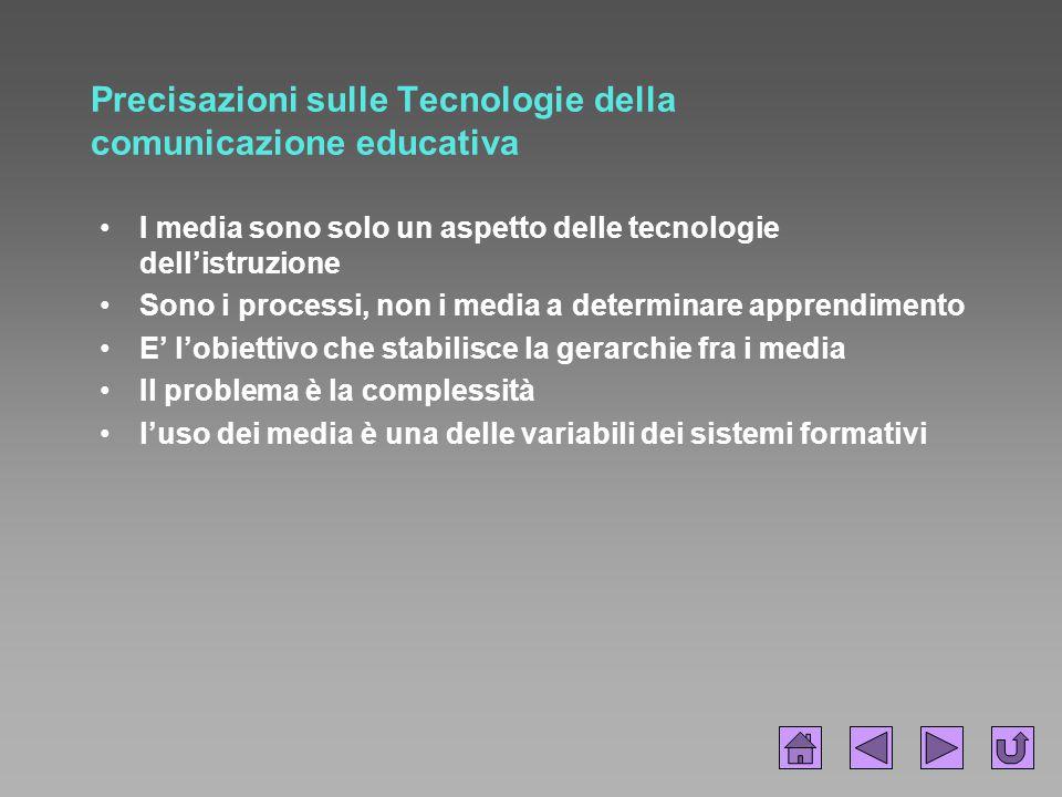 Precisazioni sulle Tecnologie della comunicazione educativa I media sono solo un aspetto delle tecnologie dell'istruzione Sono i processi, non i media