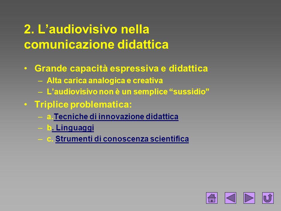 2. L'audiovisivo nella comunicazione didattica Grande capacità espressiva e didattica –Alta carica analogica e creativa –L'audiovisivo non è un sempli
