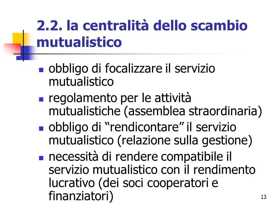13 2.2. la centralità dello scambio mutualistico obbligo di focalizzare il servizio mutualistico regolamento per le attività mutualistiche (assemblea