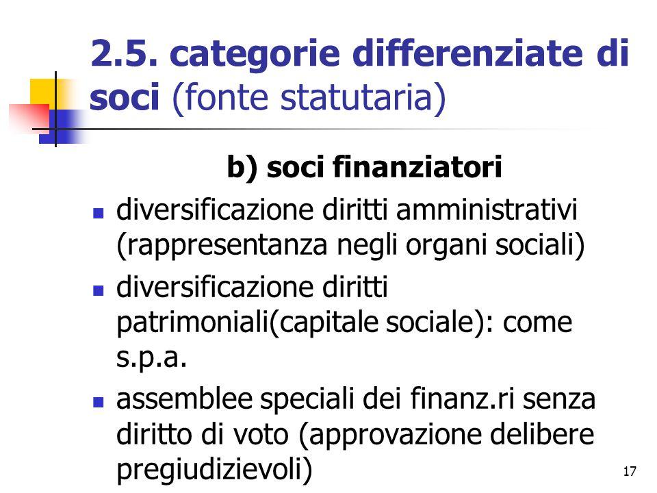 17 2.5. categorie differenziate di soci (fonte statutaria) b) soci finanziatori diversificazione diritti amministrativi (rappresentanza negli organi s