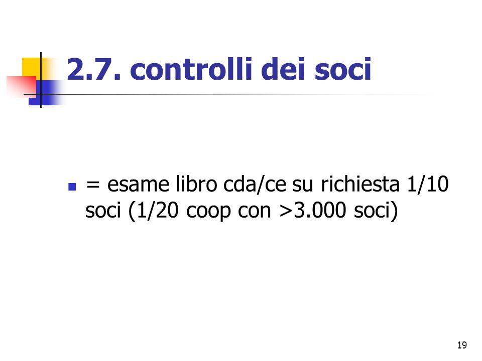 19 2.7. controlli dei soci = esame libro cda/ce su richiesta 1/10 soci (1/20 coop con >3.000 soci)