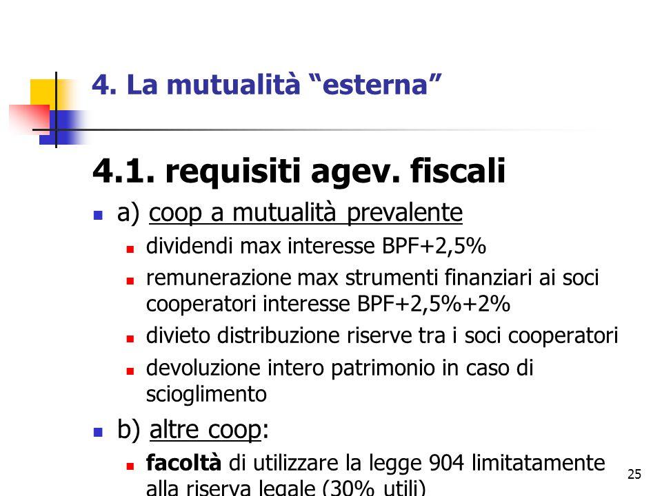 "25 4. La mutualità ""esterna"" 4.1. requisiti agev. fiscali a) coop a mutualità prevalente dividendi max interesse BPF+2,5% remunerazione max strumenti"