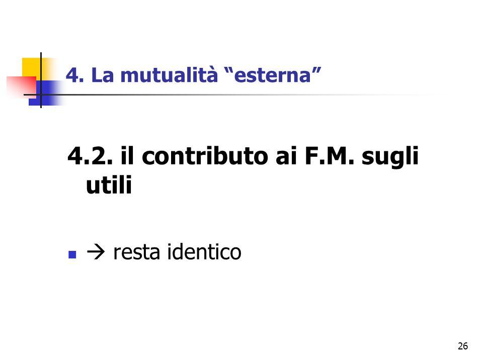 """26 4. La mutualità """"esterna"""" 4.2. il contributo ai F.M. sugli utili  resta identico"""