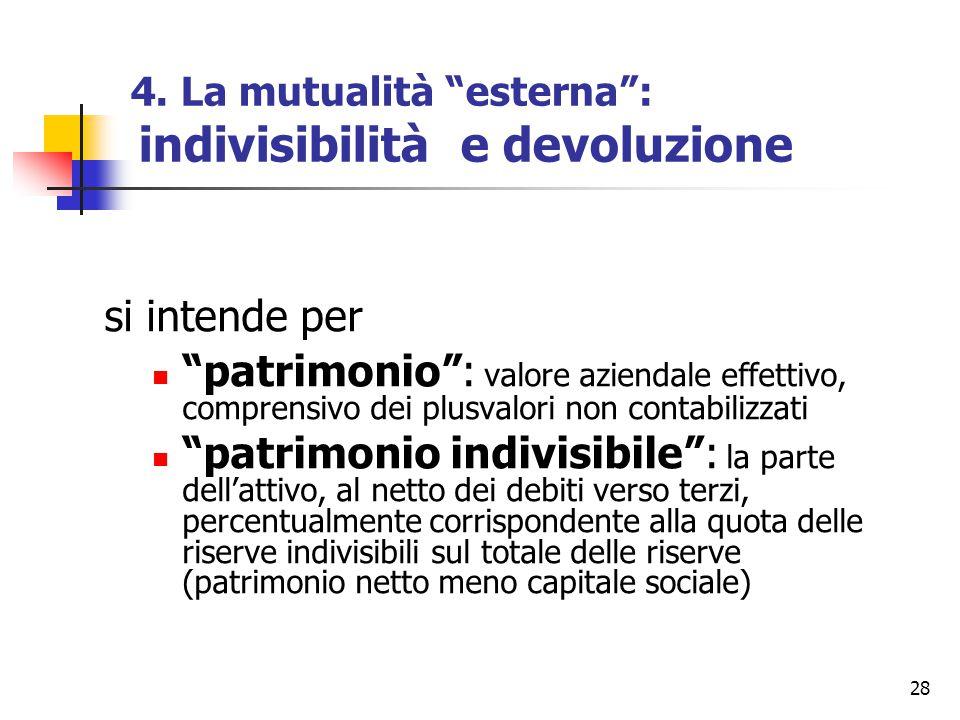 """28 4. La mutualità """"esterna"""": indivisibilità e devoluzione si intende per """"patrimonio"""": valore aziendale effettivo, comprensivo dei plusvalori non con"""