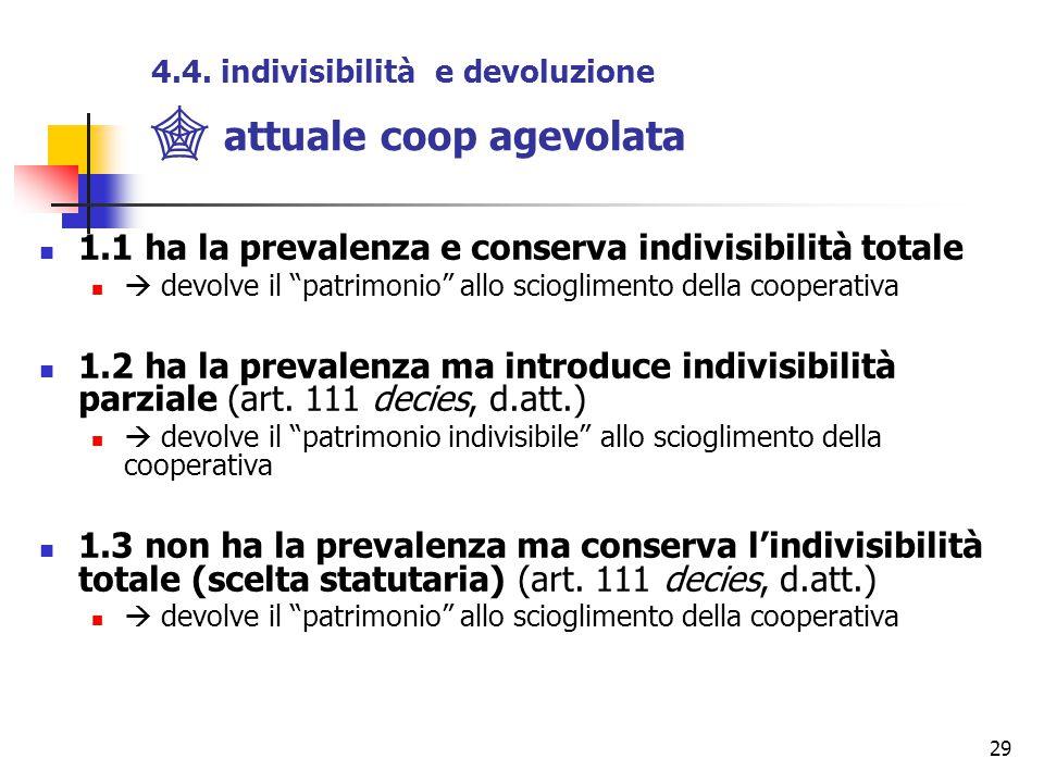 """29 4.4. indivisibilità e devoluzione  attuale coop agevolata 1.1 ha la prevalenza e conserva indivisibilità totale  devolve il """"patrimonio"""" allo sci"""