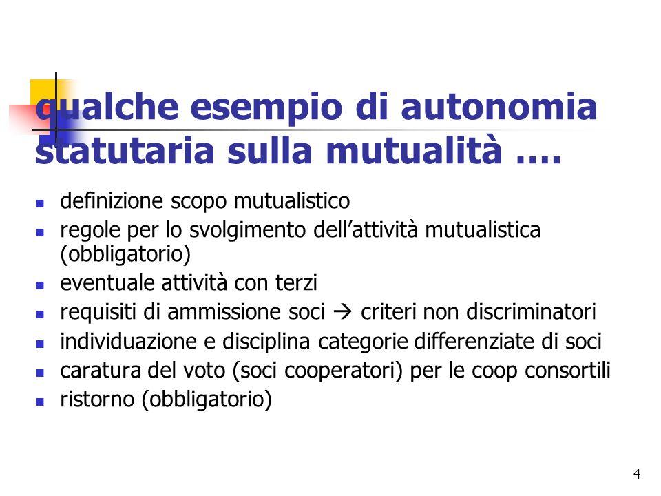 4 qualche esempio di autonomia statutaria sulla mutualità …. definizione scopo mutualistico regole per lo svolgimento dell'attività mutualistica (obbl