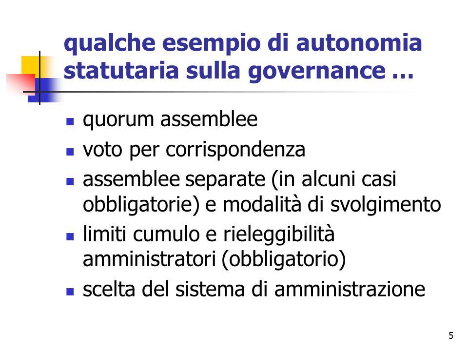 5 qualche esempio di autonomia statutaria sulla governance … quorum assemblee voto per corrispondenza assemblee separate (in alcuni casi obbligatorie) e modalità di svolgimento limiti cumulo e rieleggibilità amministratori (obbligatorio) scelta del sistema di amministrazione