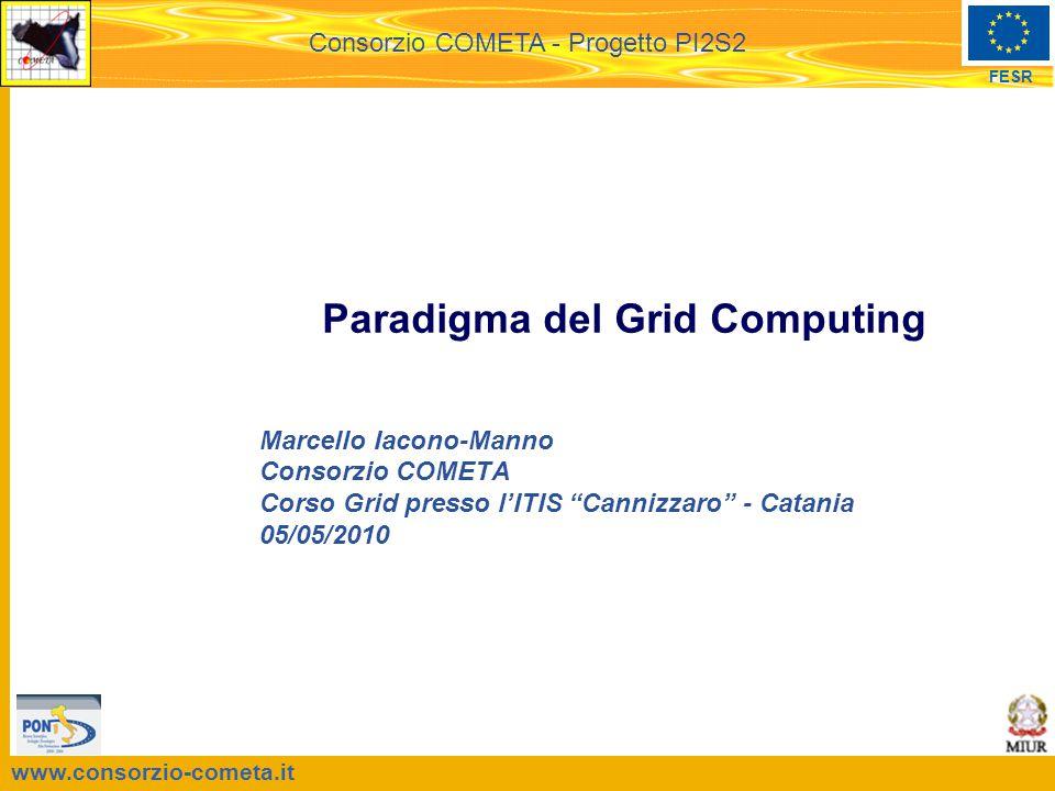 www.consorzio-cometa.it FESR Consorzio COMETA - Progetto PI2S2 Paradigma del Grid Computing Marcello Iacono-Manno Consorzio COMETA Corso Grid presso l