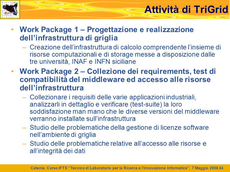 """Catania, Corso IFTS """"Tecnico di Laboratorio per la Ricerca e l'Innovazione Informatica"""", 7 Maggio 2008 24 Attività di TriGrid Work Package 1 – Progett"""