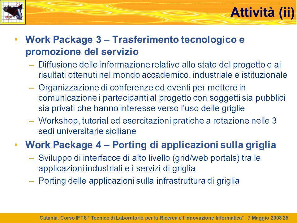 """Catania, Corso IFTS """"Tecnico di Laboratorio per la Ricerca e l'Innovazione Informatica"""", 7 Maggio 2008 25 Attività (ii) Work Package 3 – Trasferimento"""