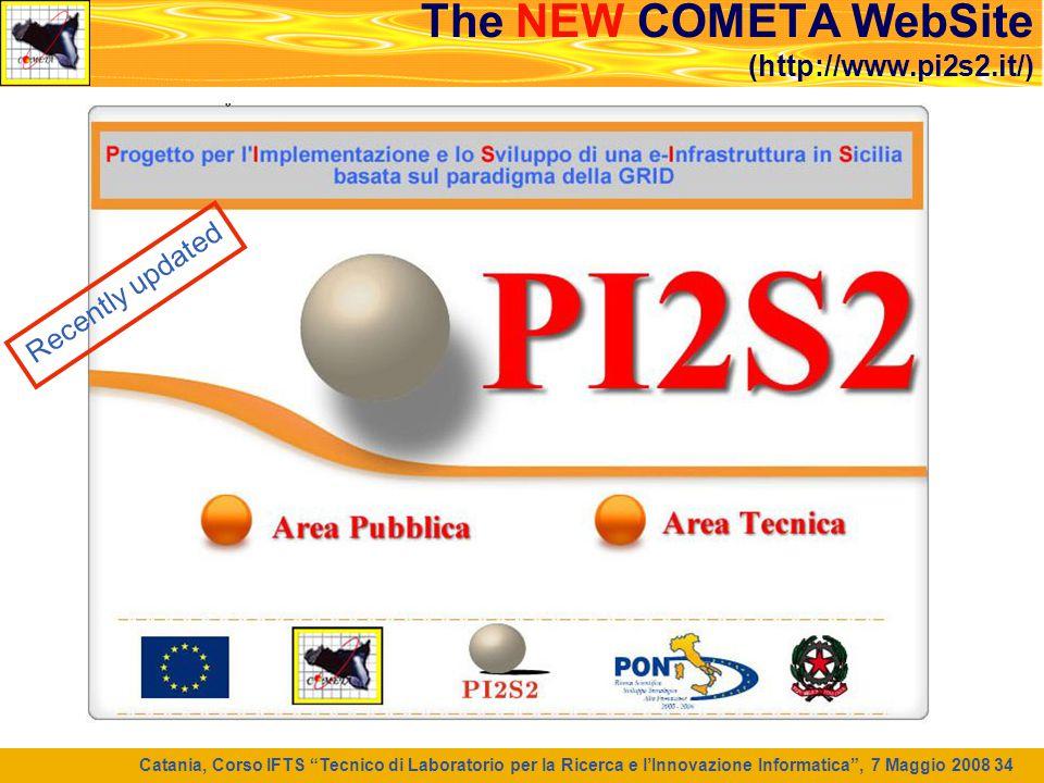 """Catania, Corso IFTS """"Tecnico di Laboratorio per la Ricerca e l'Innovazione Informatica"""", 7 Maggio 2008 34 The NEW COMETA WebSite (http://www.pi2s2.it/"""