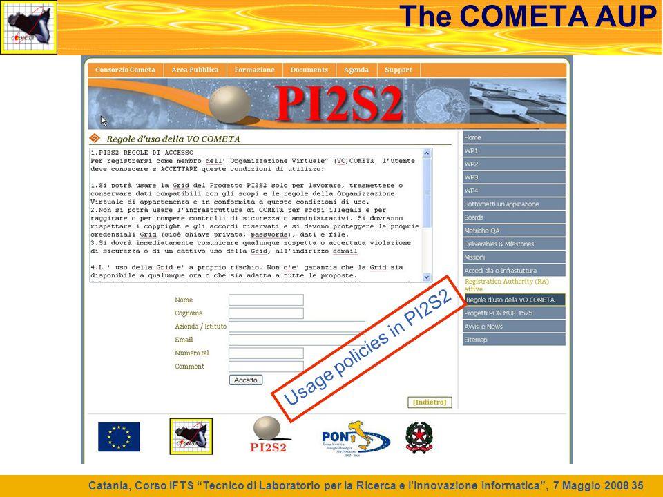 """Catania, Corso IFTS """"Tecnico di Laboratorio per la Ricerca e l'Innovazione Informatica"""", 7 Maggio 2008 35 The COMETA AUP Usage policies in PI2S2"""