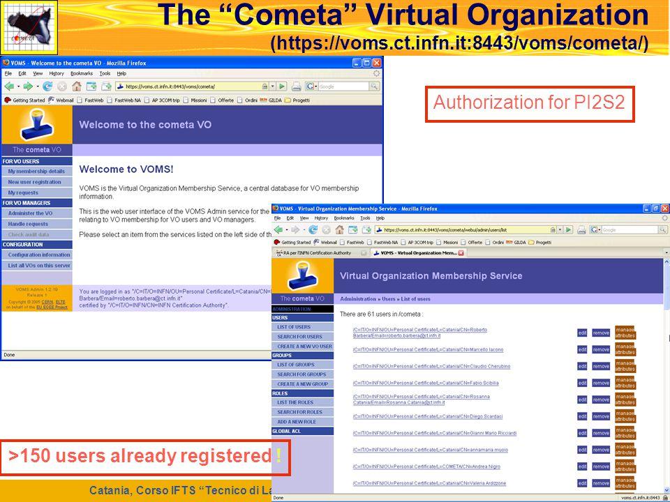 """Catania, Corso IFTS """"Tecnico di Laboratorio per la Ricerca e l'Innovazione Informatica"""", 7 Maggio 2008 36 The """"Cometa"""" Virtual Organization (https://v"""