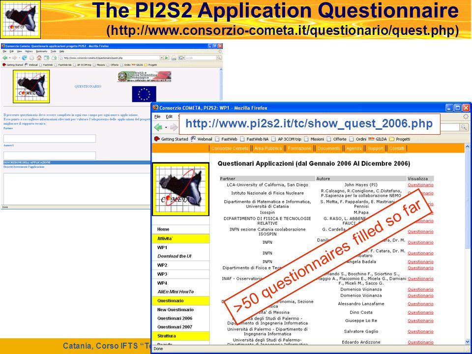 """Catania, Corso IFTS """"Tecnico di Laboratorio per la Ricerca e l'Innovazione Informatica"""", 7 Maggio 2008 38 The PI2S2 Application Questionnaire (http://"""