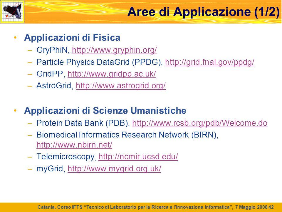 """Catania, Corso IFTS """"Tecnico di Laboratorio per la Ricerca e l'Innovazione Informatica"""", 7 Maggio 2008 42 Aree di Applicazione (1/2) Applicazioni di F"""