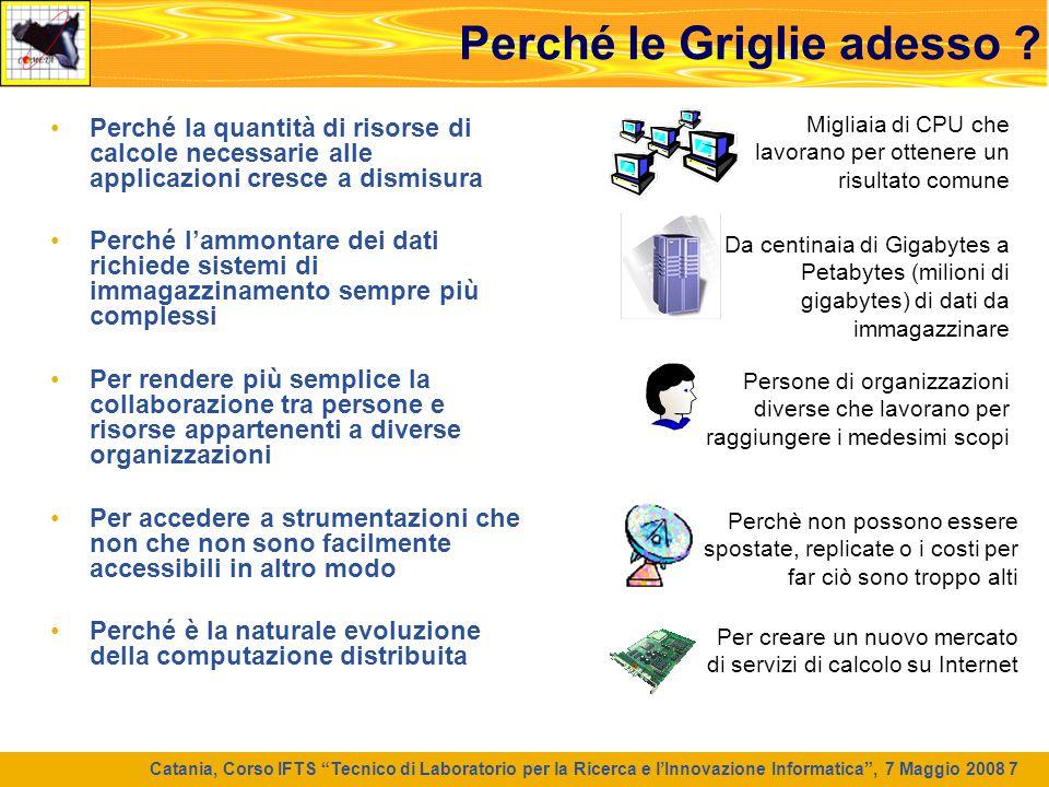 """Catania, Corso IFTS """"Tecnico di Laboratorio per la Ricerca e l'Innovazione Informatica"""", 7 Maggio 2008 7 Perché le Griglie adesso ? Perché la quantità"""