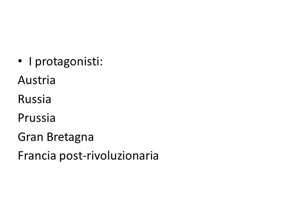 parole d'ordine: - principio dell'equilibrio - principio di legittimità -Patto della Santa Alleanza (1815): Austria, Russia, Prussia, poi Francia, Regno di Sardegna, Svezia e Paesi Bassi -Patto della Quadruplice Alleanza: Gran Bretagna, Austria, Russia e Prussia