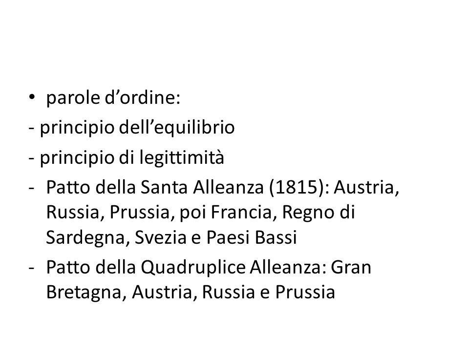 parole d'ordine: - principio dell'equilibrio - principio di legittimità -Patto della Santa Alleanza (1815): Austria, Russia, Prussia, poi Francia, Reg