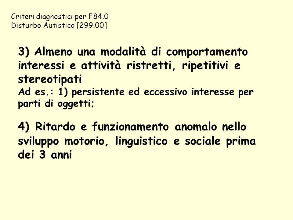 Criteri diagnostici per F84.0 Disturbo Autistico [299.00] 3) Almeno una modalità di comportamento interessi e attività ristretti, ripetitivi e stereot